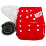 กางเกงผ้าอ้อมกันน้ำ+แผ่นซับชาโคลหนา5ชั้น Size 3-16 kg.-Red
