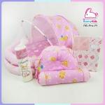 ng-pro-sx เซ็ทที่นอนมุ้ง+ผ้าห่ม+ผ้ายาง สีชมพู