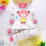 ชุดนอนเด็กเล็ก แขนยาว+ขายาว ลายการ์ตูนหมีสีชมพู สำหรับเด็ก 1-3 ปี