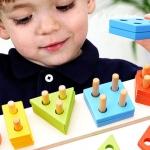 ของเล่นไม้สวมหลัก รูปทรงเรขาคณิตพื้นฐาน 5 หลัก