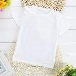 เสื้อยืดเด็กเล็กสีขาวล้วน มีกระดุมข้างคอ สำหรับเด็ก Size 0-1y/1-2y/2-3y/3-4y/4-5y/5-6y