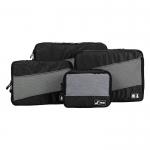 Ecosusi 4 Set Packing Cubes - Travel Organizers - ชุดจัดกระเป๋าเดินทางคุณภาพดีมาก 4 ใบต่อชุด ใส่เสื้อผ้า ชั้นใน ถุงเท้า เข็มขัด (ฺBlack)