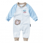 ชุดหมีเด็ก จั๊มสูทแขนขายาว Cuddle me ลายชุดเบสบอล สีฟ้า-น้ำตาลอ่อน-ขาว เด็กวัย 3-18 เดือน