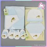 เซ็ตผ้าห่อตัว หมวก ถุงมือ ถุงเท้า ผ้ากันเปื้อน เนื้อนิ่ม cotton100% TOM TOM เข้าชุด