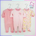 ชุดหมี sleep suit แพ็ค 3 ชุด ไซส์ 0-3 เดือน