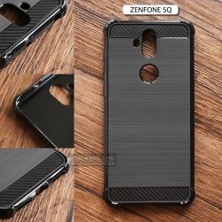 เคส Zenfone 5Q (ZC600KL) เคสนิ่มเกรดพรีเมี่ยม กันลื่น ลดรอยนิ้วมือ สีดำ (ลายโลหะขัด - เสริมขอบ)