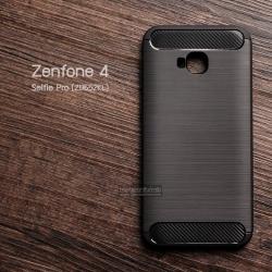 เคส Zenfone 4 Selfie Pro (ZD552KL) เคสนิ่มเกรดพรีเมี่ยม (Texture ลายโลหะขัด) กันลื่น ลดรอยนิ้วมือ สีดำ
