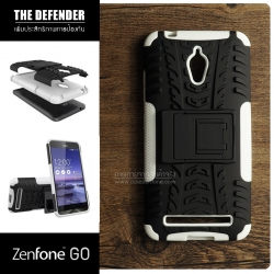เคส Zenfone GO (ZC500TG) กรอบบั๊มเปอร์ กันกระแทก Defender สีขาว (เป็นขาตั้งได้)