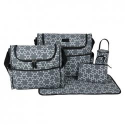 Ecosusi กระเป๋าสัมภาระคุณแม่ พร้อมอุปกรณ์รวม 5 ชิ้น มีกระเป๋าสะพายใหญ่สองใบ แผ่นรองเปลี่ยนผ้าอ้อม กระเป๋าใส่ขวดนม กระเป๋าใส่ของ ผลิตจากโพลีเอสเตอร์คุณภาพสูง
