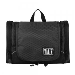 กระเป๋าใส่อุปกรณ์ห้องน้ำ ใส่อุปกรณ์อาบน้ำ ใส่ขวดได้ มีกระเป๋าใส่ของเพิ่มซ้าย-ขวา แขวนได้ สำหรับเดินทาง ท่องเที่ยว (สีดำ)