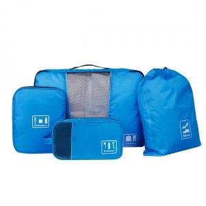 Ecosusi ชุดจัดกระเป๋าเดินทาง 4 ใบ กันน้ำ พกพาสะดวก ใส่เสื้อผ้า, อุปกรณ์ไอที, อุปกรณ์น้ำ และรองเท้า (สีฟ้า)