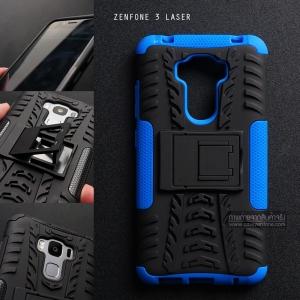 เคส Zenfone 3 Laser ( ZC551KL ) กรอบบั๊มเปอร์ กันกระแทก Defender สีน้ำเงิน (เป็นขาตั้งได้)