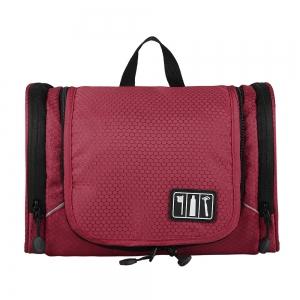 กระเป๋าใส่อุปกรณ์อาบน้ำ คุณภาพสูง ใส่ขวดได้ มีกระเป๋าใส่ของเพิ่มซ้าย-ขวา แขวนได้ สำหรับเดินทาง ท่องเที่ยว (สีแดง)