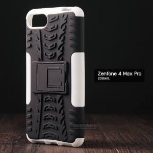 เคส Zenfone 4 Max Pro (ZC554KL) กรอบบั๊มเปอร์ กันกระแทก Defender สีขาว (เป็นขาตั้งได้)