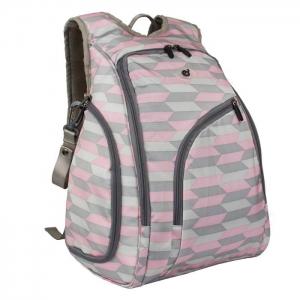 Ecosusi กระเป๋าสัมภาระคุณแม่ แบบเป้ มาพร้อมแผ่นรองเปลี่ยนผ้าอ้อม, สายคล้องรถเข็น, ช่องเก็บความร้อน-เย็น (Pink Chevron)