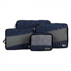 Ecosusi 4 Set Packing Cubes - Travel Organizers - ชุดจัดกระเป๋าเดินทางคุณภาพดีมาก 4 ใบต่อชุด ใส่เสื้อผ้า ชั้นใน ถุงเท้า เข็มขัด (ฺNavy Blue)