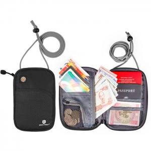 กระเป๋าใส่พาสปอร์ตห้อยคอ คล้องคอได้ กระเป๋าใส่หนังสือเดินทาง ป้องกันการขโมยข้อมูลบัตรเครดิตด้วยคลื่น RFID (Black)