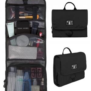 กระเป๋าใส่อุปกรณ์ห้องน้ำ คุณภาพสูง ใส่อุปกรณ์อาบน้ำ แขวนได้ สำหรับเดินทาง ท่องเที่ยว (สีดำ)