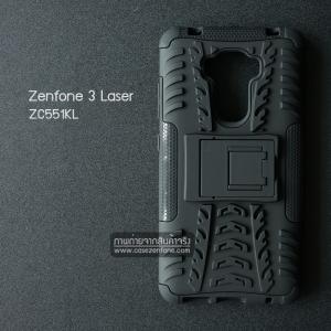 เคส Zenfone 3 Laser ( ZC551KL ) กรอบบั๊มเปอร์ กันกระแทก Defender สีดำ (เป็นขาตั้งได้)