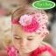 ผ้าคาดผมเด็กขนนก Princress สีชมพูประดับดอกไม้ผ้าฝังเพชร thumbnail 1