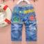 กางเกงยีนส์เด็กเล็ก ขายาว ลายอักษรจีนเท่ๆ ใส่สบาย วัย 6-30 เดือน thumbnail 1