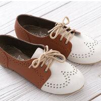 ** ไซส์ 36 ** รองเท้าส้นแบน ทรงผ้าใบ แบบแฟชั่นเก๋ๆ สีน้ำตาล หัวสีขาว