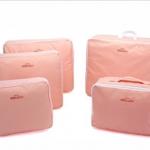 ชุดจัดกระเป๋าเดินทาง 5 ใบ จัดระเบียบกระเป๋าเดินทาง ประหยัดเนื้อที่ มีสไตล์ กันน้ำ เลือก 4 สี สีชมพู, ฟ้า, เทา, แดง